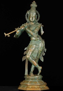 Bronze Hindu God Krishna statue