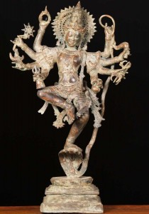 Brass  Krishna statue dancing on Kaliya the serpent