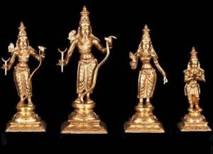 Bronze Lord Ram Set with Lakshmana, Sita and Hanuman