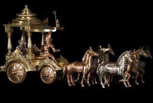 Bronze Chariot of Arjuna and Krishna of the Mahabharata epic