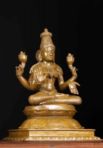 Seated Hindu Goddess of wealth Lakshmi Metal statue