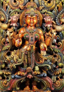 Wood Statue of the Hindu Goddess Lakshmi