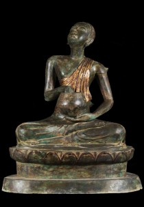 Buddhist monk statue holding alms bowl