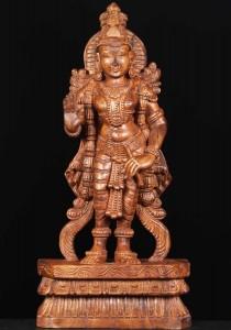 Wooden Lord Ayyappa Statue