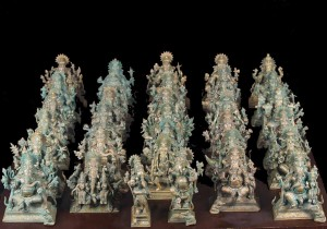Bronze set of the 32 forms of Ganesh