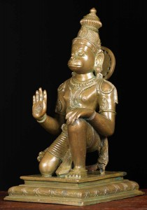 Bronze Kneeling Hanuman statue