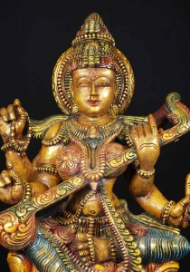 wooden hindu goddess saraswati statue