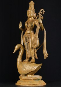 bronze saraswati with swan