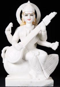 White makrana marble saraswati statue