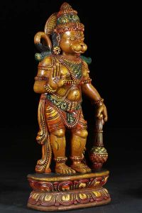 Wood Hindu God Lord Hanuman statue