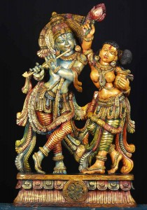 Wood Radha Krishna statue