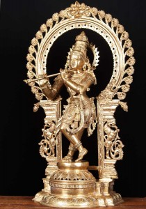 Bronze Krishna statue playing flute