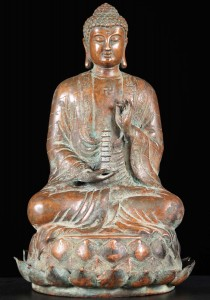 swastika Buddha statue