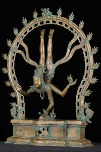 Bronze Shiva statue descending to the earth with Ganga