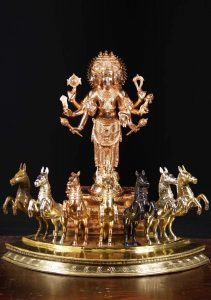 Surya with his chariot and charioteer Aruna