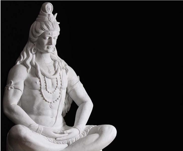 White Marble Meditating Shiva Murti