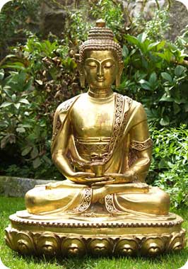 Golden Medicine Buddha Statue on Lotus Base