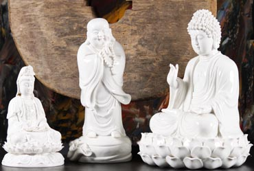 Buddhist white chinese porcelain statues for sale