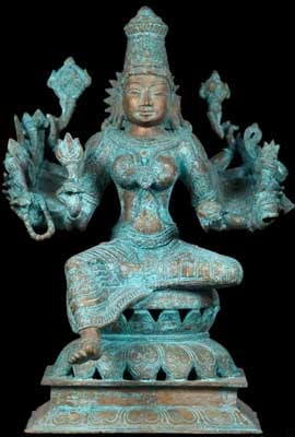 Indian Bronze Statue with Verde Gris, green patina