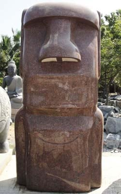 Polished Pink Granite Easter Island Moai Statue