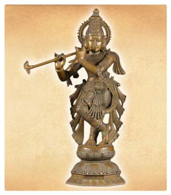 Bronze Hindu God Krishna Statue Playing Flute