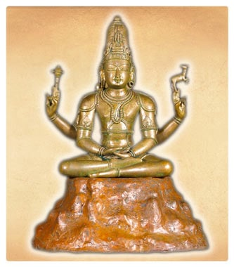 Bronze Shiva Statue Meditating on Mount Kalisa