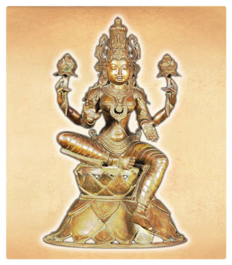 Seated Bronze Lakshmi Statue Holding Lotus Flowers