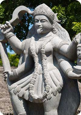 Large Statue of Hindu Goddess Kali Standing on Shiva