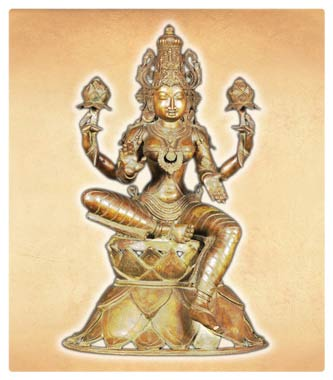 Hindu goddess Lakshmi Holding two Lotus Flowers