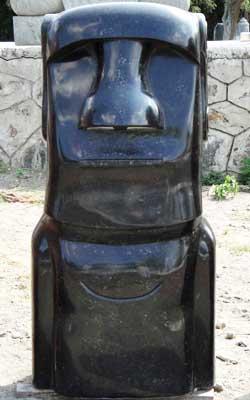 Moai Head Easter Island Black Marble Sculpture