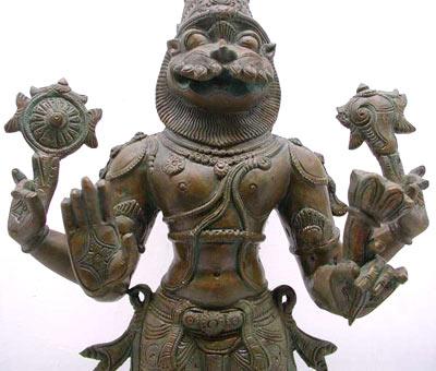 Hindu God Narasimha Bronze Statue