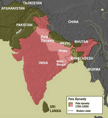 Map of India and the Pala dynasty
