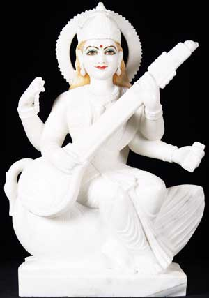 Marble Hindu Goddess Saraswati Statue
