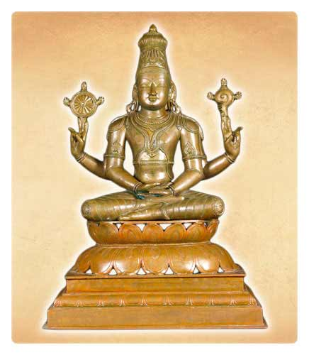 Hindu God Vishnu Statue Meditating on Lotus Base