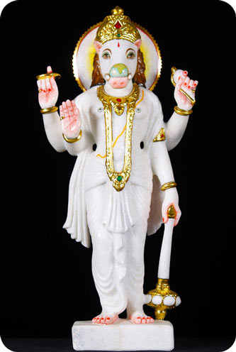 White Marble Statue of Vahara the Boar