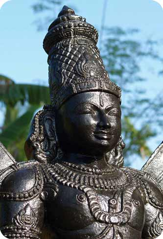 Large Hindu god Vishnu Statue Made From Black Granite