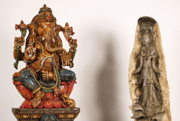 Wood Buddha and Hindu statues for sale