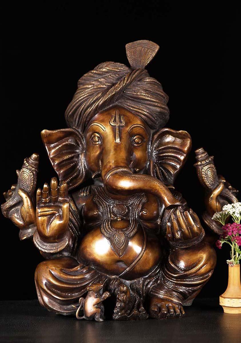 Brass Abhaya Ganesha Statue Wearing Turban 17 84bs42z Hindu Gods Buddha Statues
