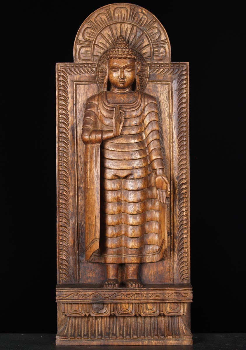 Sold Wooden Buddha Statue In Vitarka Mudra 24 Quot 65w13zn