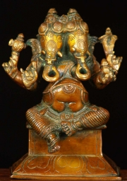 Brass 2 Headed Ganesh Statue 6
