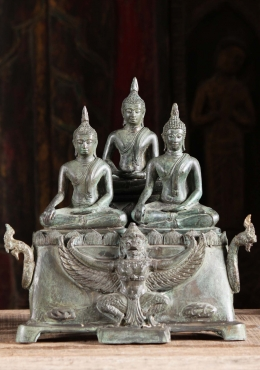 Brass Sculpture of 3 Buddhas, Garuda & Nagas 13