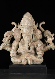 Brass Three Headed Ganesha 16