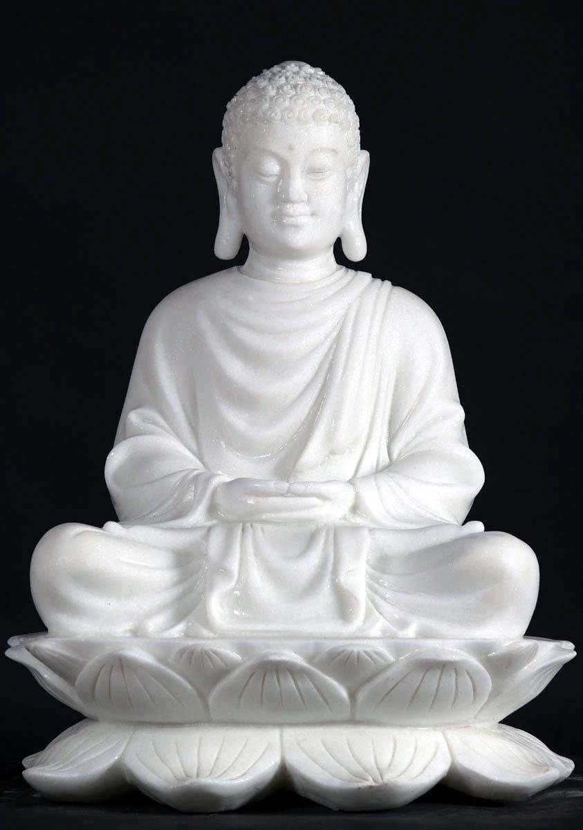 Sold Marble Buddha On Lotus Base 24 Quot 45w7 Hindu Gods
