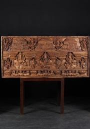 Wood Wall Panel with 5 Ganeshas 72