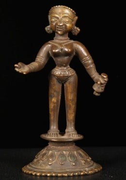 Antique Bronze Standing Radha Statue 6.5