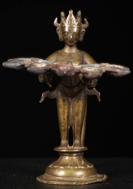 Antique Indian Bronze Lamp of Lakshmi 6.5