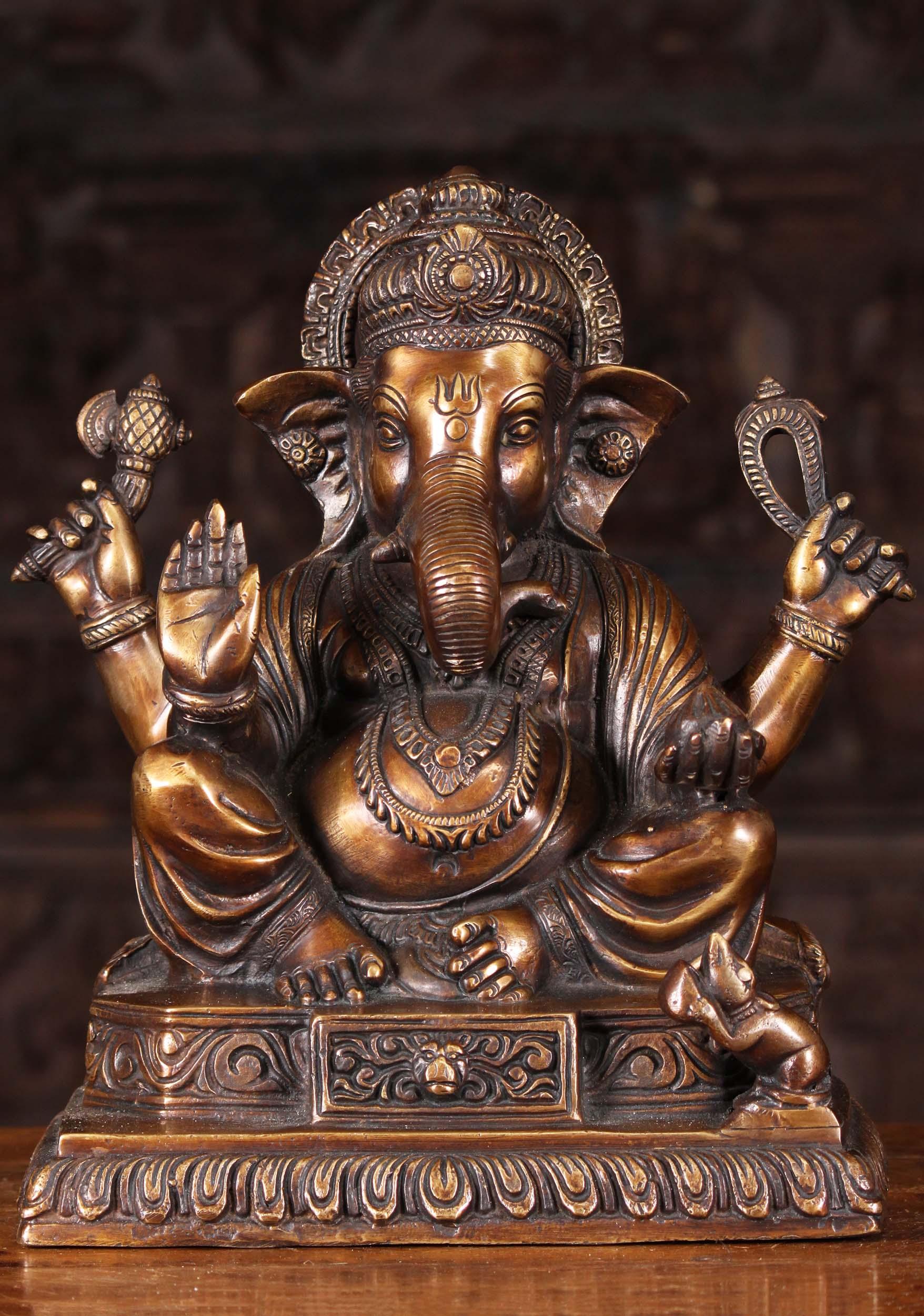 Brass Seated Abhaya Ganesha Statue 12 61bs2z Hindu Gods Buddha Statues