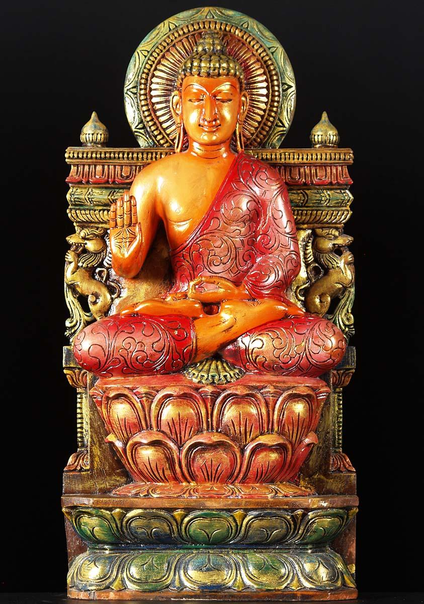 Sold abhaya buddha wood carving quot w o hindu gods