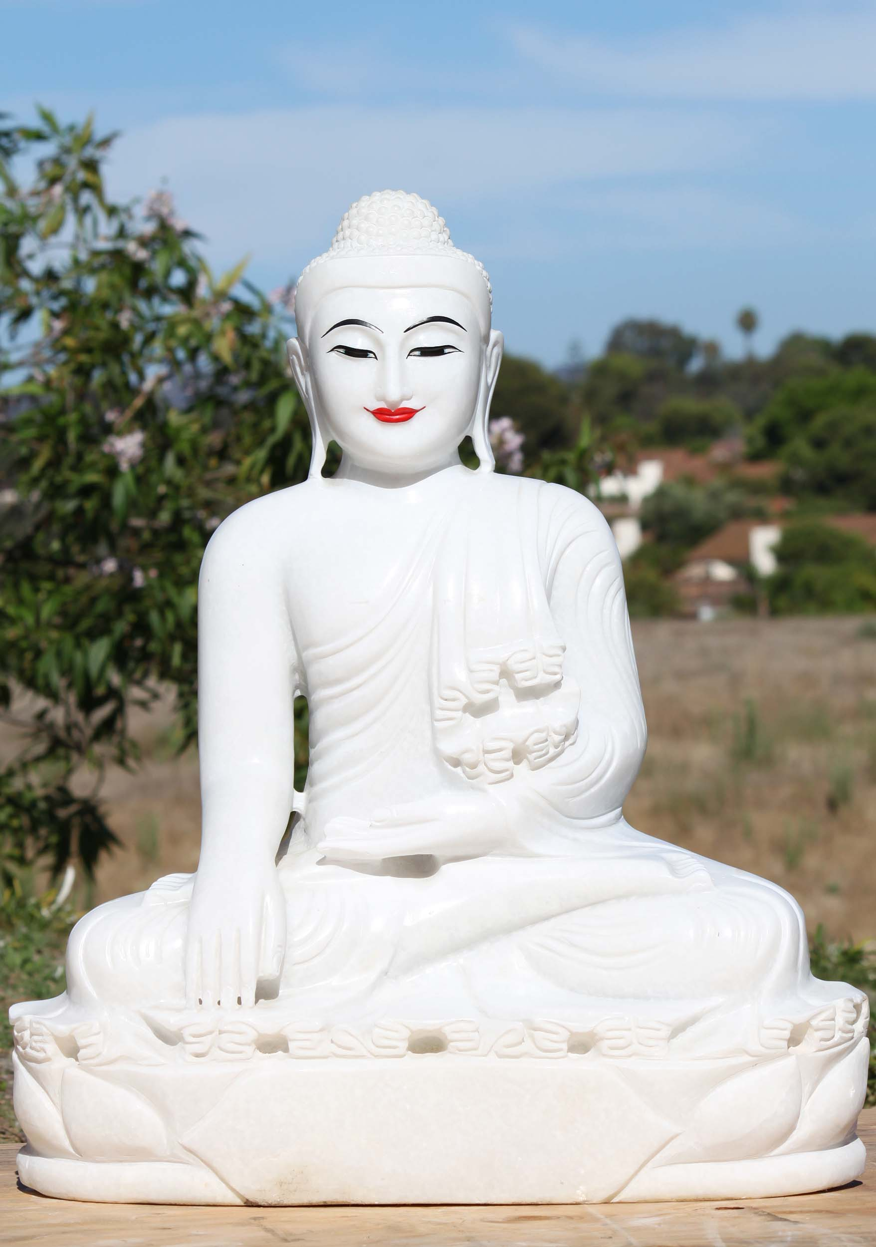 Burmese White Alabaster Buddha Statue 29 Quot 102a2 Hindu