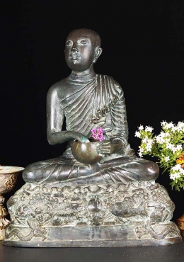 Brass Monk Statue Reaching into His Alms Bowl 13